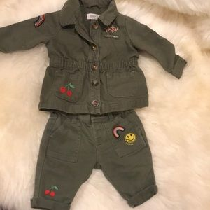 Gymboree fun olive green jacket and pant set
